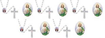 Moulded Acrylic Luminous Prayer Bead Saint Jude Cord Rosary, Pack of 50