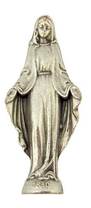Silver Tone Our Lady of Grace Pocket Statue with Gold Stamped Prayer Card, 1 1/2 Inch