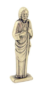 Silver Tone Saint Jude the Apostle Pocket Statue with Gold Stamped Prayer Card, 1 1/2 Inch