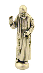 Silver Tone Saint Pio of Pietrelcina Pocket Statue with Gold Stamped Prayer Card, 1 1/2 Inch