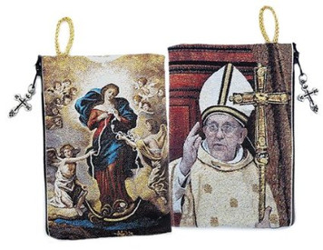 Our Lady Undoer of Knots & Pope Francis Icon Cloth Tapestry Rosary Zipper Close Pouch Keepsake Holder