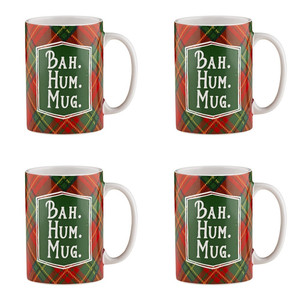 Holiday Plaidness Bah. Hum. Mug. Ceramic Christmas Mug, 16 oz, Set of 4