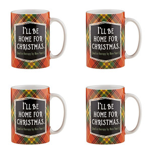 Holiday Plaidness I'll Be Home for Christmas Ceramic Christmas Mug, 16 oz, Set of 4