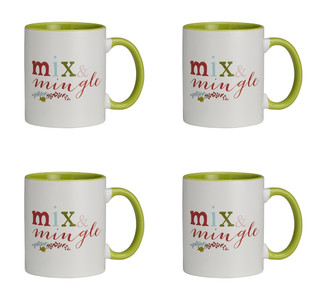 Jingle Jolly Mix and Mingle Ceramic Christmas Mug, 11 oz, Set of 4