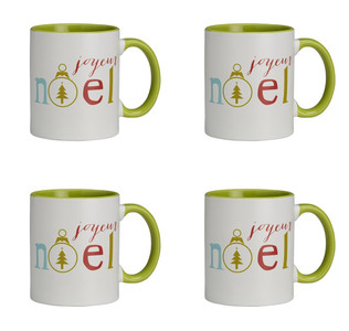 Jingle Jolly Joyeux Noel Ceramic Christmas Mug, 11 oz, Set of 4