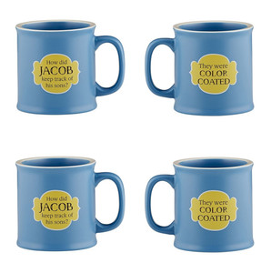Old Testamugs Color Coated Ceramic Coffee Mug, 15 oz, Set of 4