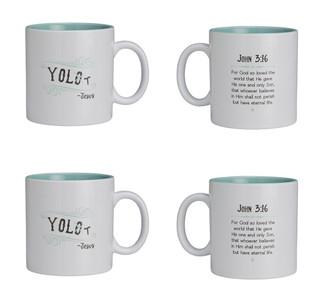 Textify Mugs YOLO with John 3:16 Bible Verse Ceramic Coffee Mug, 25 oz, Set of 4