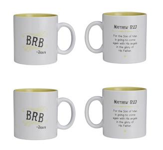 Textify Mugs BRB with Matthew 17:27 Bible Verse Ceramic Coffee Mug, 25 oz, Set of 4