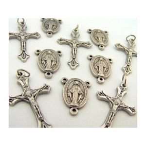Lot of 10 - Oxidized Silver Tone Miraculous Medal Rosary Centerpiece with Jesus Christ Cross Crucifix Pendants