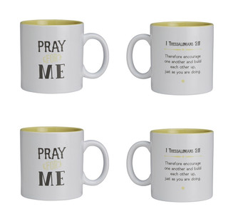 Textify Mugs Pray for Me with 1 Thessalonians 5:11 Bible Verse Ceramic Coffee Mug, 25 oz, Set of 4