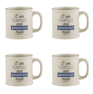 Joy From Psalms Wonderfully Made with Psalm 139:14 Verse Ceramic Coffee Mug, 15 oz, Set of 4