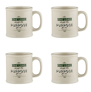 Joy From Psalms Purpose for Me with Psalm 138:8 Verse Ceramic Coffee Mug, 15 oz, Set of 4