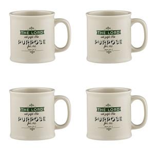 Joy From Psalms Purpose for Me with Psalm 138:8 Verse Ceramic Coffee Mug, 15 oz, Set of 4