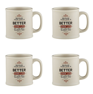 Joy From Psalms Better Than Life with Psalm 63:3 Verse Ceramic Coffee Mug, 15 oz, Set of 4