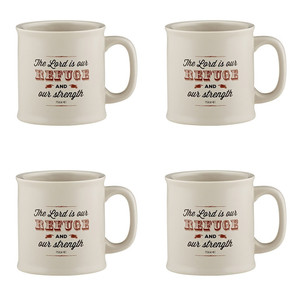 Joy From Psalms Refuge and Strength with Psalm 23:1 Verse Ceramic Coffee Mug, 15 oz, Set of 4