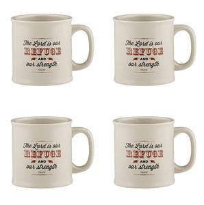 Joy From Psalms Refuge and Strength with Psalm 23:1 Verse Ceramic Coffee Mug, 15 oz, Set of 4