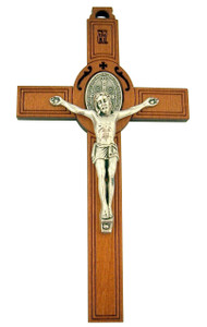 Laser Cut Wood Crucifix with Silver Tone Saint Benedict Medal and Corpus, 4 1/2 Inch