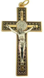 Gold Tone Black Enamel Saint Benedict Fleur De Lis Cross Crucifix Pendant, 3 Inch