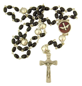 Pearlized Bead RCIA Rosary with Silver Tone Baptismal Shell Our Father Prayer Beads, 19 Inch (Black)