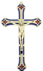 Blue and Red Enamel Salerni Cross Crucifix with Silver Tone Corpus (5 1/4 Inch)