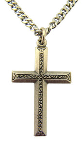 Pewter Overlay Latin Cross Pendant with Bright Cut Accents, 1 1/4 Inch