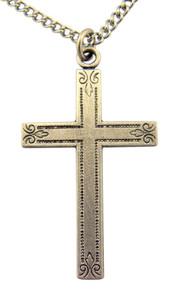 Pewter Fleur De Lis Cross Pendant with Bright Cut Accents, 1 1/8 Inch