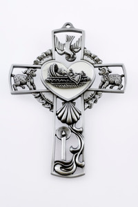 Pewter Baby Baptism Wall Cross with White Epoxy Background, 5 Inch