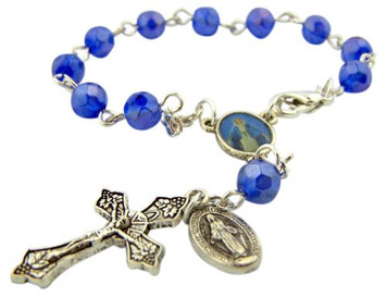 "Catholic Gift Our Lady of Grace Miraculous Mary Travel Protection 6MM Blue Glass Bead 5 3/4"" Rearview Mirror Car Truck Auto Rosary"