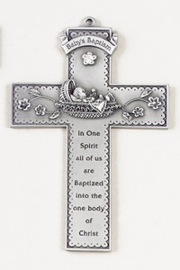 Baby's Baptism Pewter Wall Cross with Stone in Antique Finish, 5 Inch