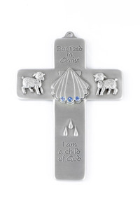 Boys Baptized in Christ Pewter Wall Cross with Blue Stones, 5 Inch