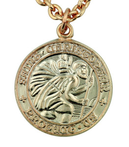 "Saint St Christopher 5/8"" Gold Plate over Sterling Silver Surfer Protection Medal"