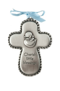 Boys Pewter Cherish Little Blessings Crib Medal Cross with Duck and Blue Ribbon, 3 1/2 Inch