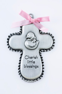 Girls Pewter Cherish Little Blessings Crib Medal Cross with Duck and Pink Ribbon, 3 1/2 Inch