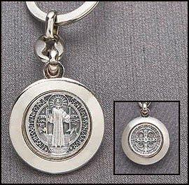 Mens Womens Silver Tone Religious Travel Patron St Saint Benedict Keychain Pendant