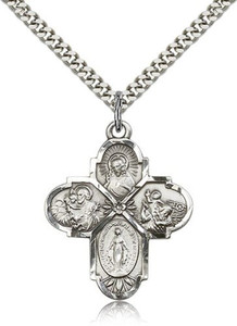 Sterling Silver 4-Way Pendant 1 1/4 x 1-inch Medal