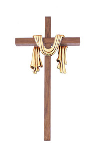 Walnut Wood Cross Adorned with Gold Toned Holy Shroud Robe, 10 Inch