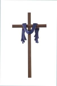 Walnut Wood Cross Adorned with Purple Toned Holy Shroud Robe, 10 Inch