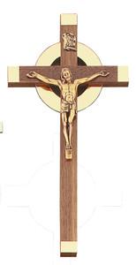 Walnut Wood Crucifix with Bright Gold Tone Sunburst and Antique Finish Corpus, 10 Inch