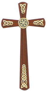 Walnut Wood Cross with Gold Tone Celtic Plaque Adornments and Stones, 12 Inch