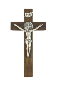 Walnut Wood Crucifix with Two Sided Pewter Saint Benedict Medal and Corpus, 12 Inch