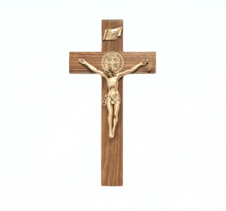 Walnut Wood Crucifix with Two Sided Gold Tone Saint Benedict Medal and Corpus, 12 Inch