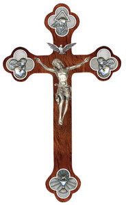 Walnut Wood Budded Cross with Pewter Trinity Symbol Edge Center and Corpus, 12 Inch