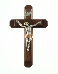Pastoral Sick Call Set Walnut Wood and Two Toned Pewter Corpus Crucifix, 13 Inch