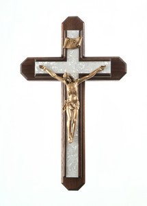 Pastoral Sick Call Set Walnut Wood with Pearlized Epoxy Inlay Cross Crucifix, 13 Inch