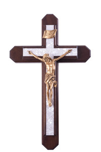 Pastoral Sick Call Set Walnut Wood with Pearlized Epoxy Inlay Cross Crucifix, 15 Inch