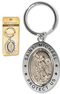 "Saint St Michael 3 1/4"" Zinc Alloy Silver Plate Revolving Dual Tone Key Ring with Prayer"