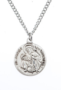 Pewter Saint St James the Greater Dime Size Medal Pendant, 3/4 Inch