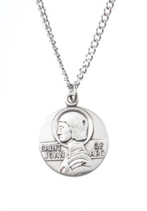 Pewter Saint St Joan of Arc Dime Size Medal Pendant, 3/4 Inch