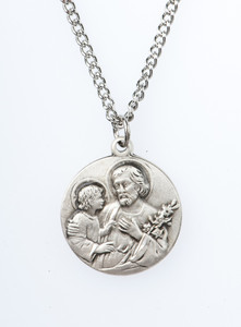Pewter Saint St Joseph with Child Dime Size Medal Pendant, 3/4 Inch