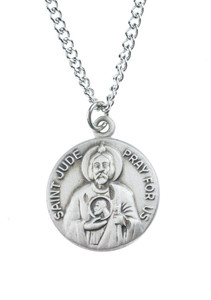 Pewter Saint St Jude Dime Size Medal Pendant, 3/4 Inch